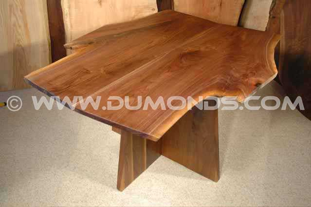 Walnut Crotch Slab Handmade Dining Table