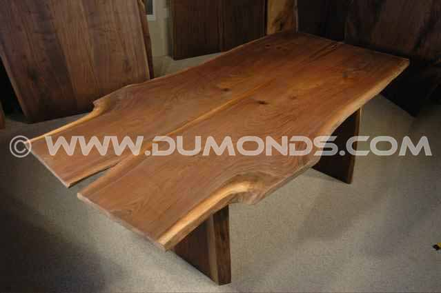 Wide Walnut Crotch Slab Dining Room Table