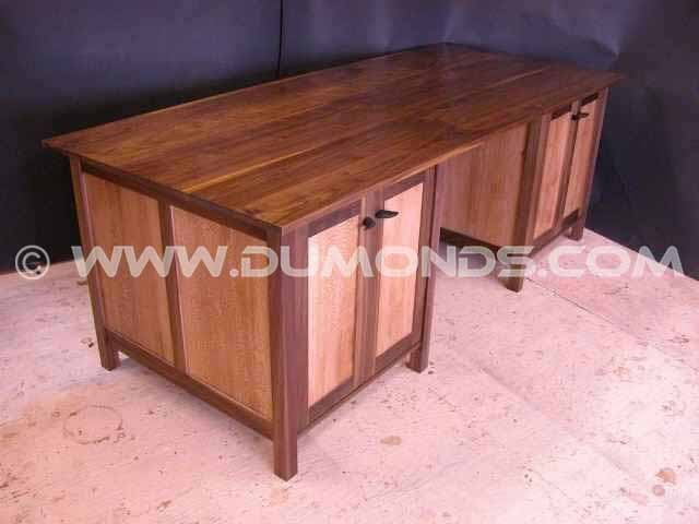 Handmade, handcrafted Walnut and Sycamore custom credenza with adjustable interior shelving