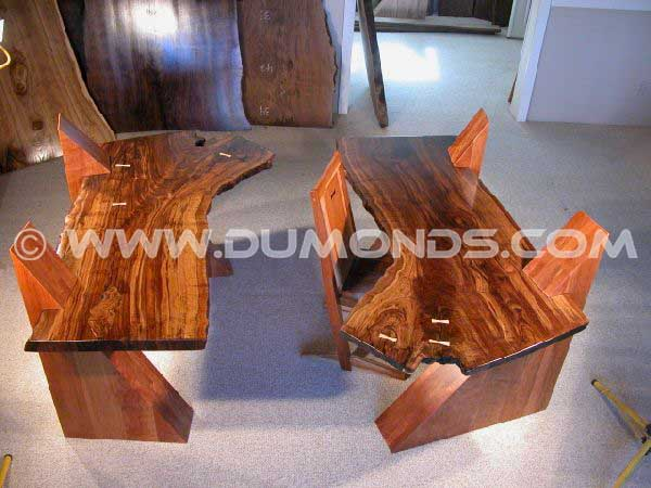 Cantilevered Claro Reclaimed Walnut Desks