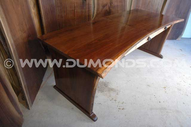Rustic Custom Executive Desk handmade in Claro Walnut – Hourglass Shaped Slab Desk