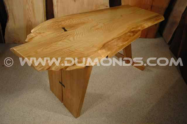 Rustic ash and cherry slab handmade custom executive desk