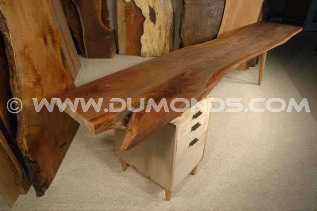 Walnut and Curly Maple Custom Rustic Wood Slab Desk