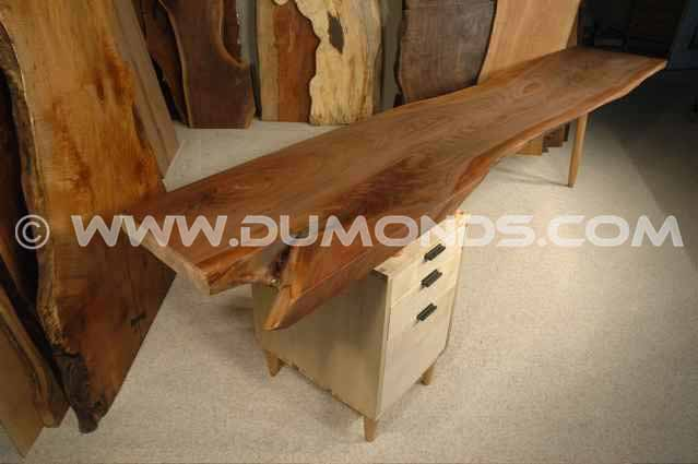 Walnut and Curly Maple Custom Rustic Executive Desk