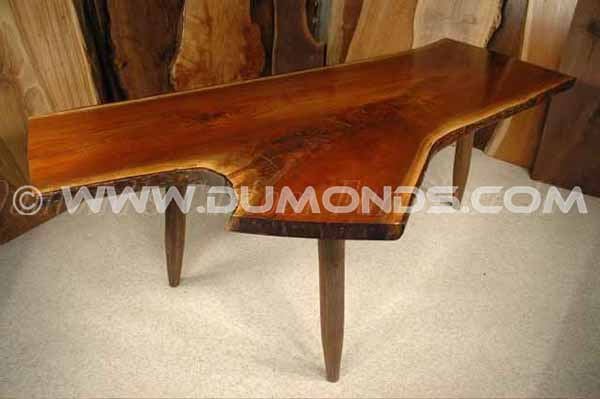 Handmade 2″ Thick Walnut Crotch slab executive desk