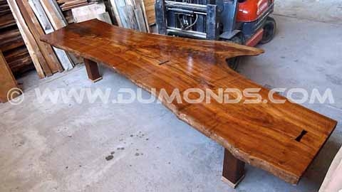claro curly walnut slab table top