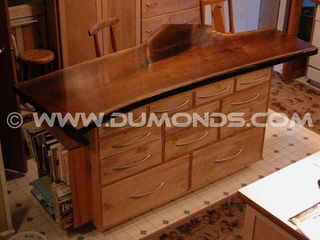 Custom Live Edge Walnut Slab Kitchen Island