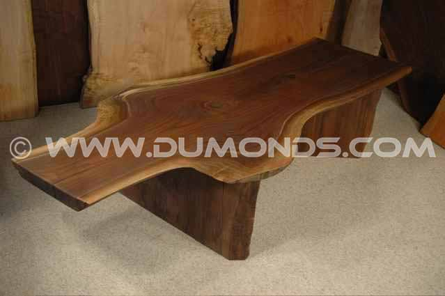 Walnut Crotch slab custom wooden bench