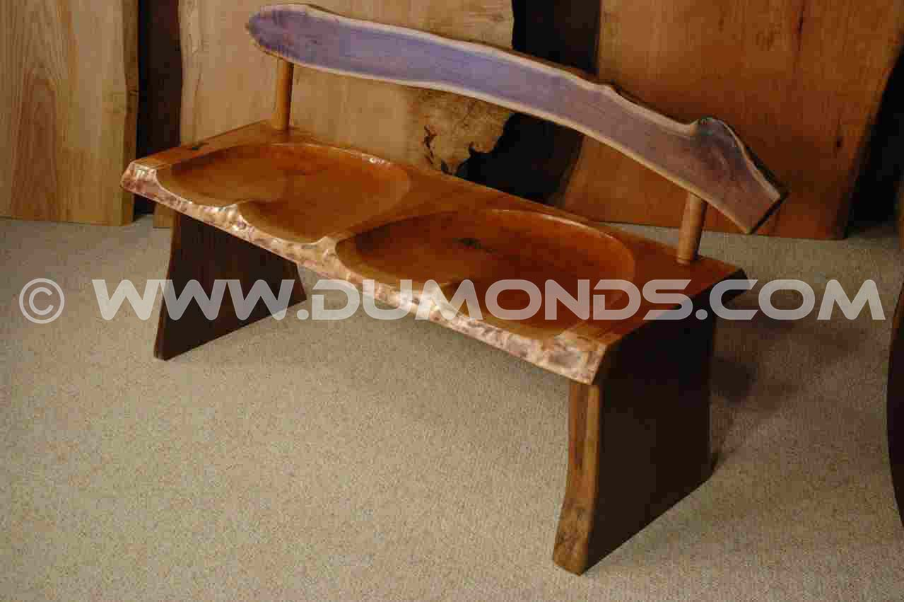 Cherry and Walnut slab handmade wooden bench