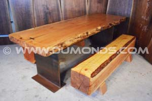 8′ Burl Maple dining table with custom benches
