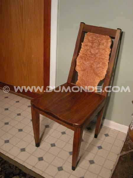 Walnut & Maple Burl Live Edge Chair