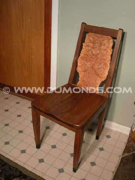 Walnut & Maple Burl Live Edge Chair