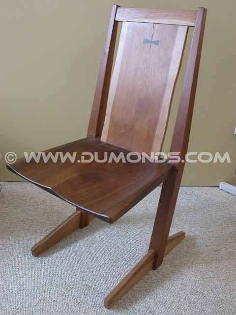 Walnut and Cherry Cantilevered Live Edge Chair