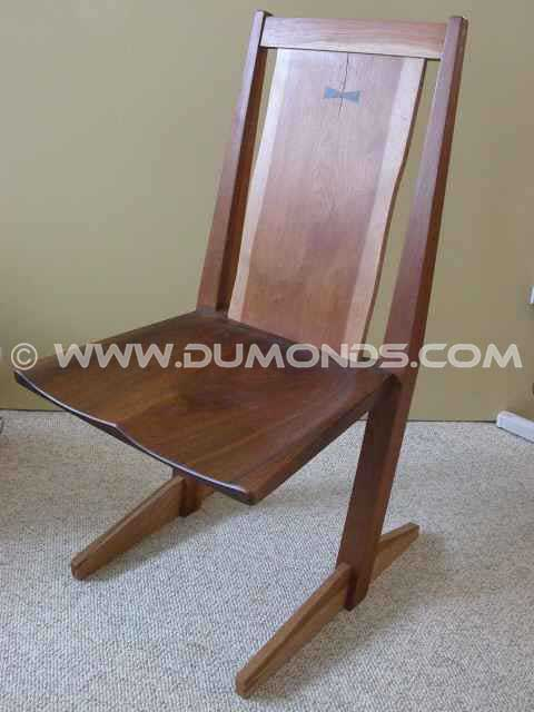 Reclaimed Walnut and Cherry Cantilevered Chair