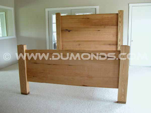 Rustic Oak Bed with Custom Headboard and Footboard