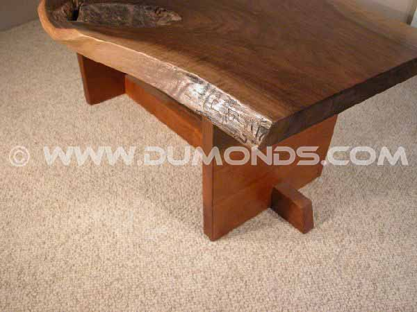 Custom Slab Walnut Coffee Table with Cherry Base