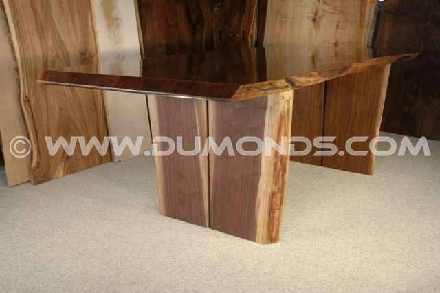 Tapered Walnut Double Slab Table Base