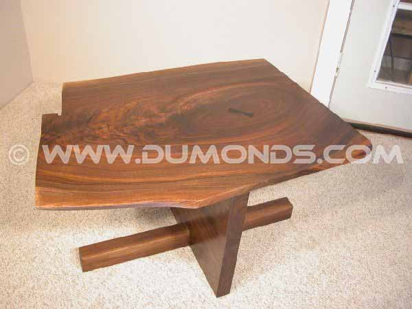 Custom Walnut Slab Coffee Table with Ebony Butterfly