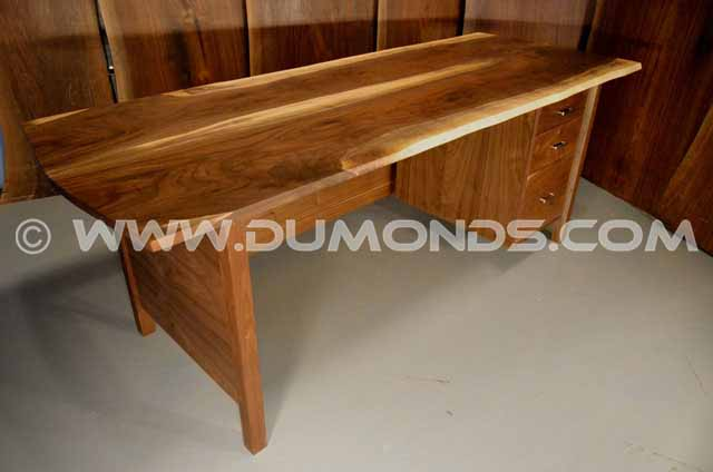 Walnut desk with 3 drawer pedestal