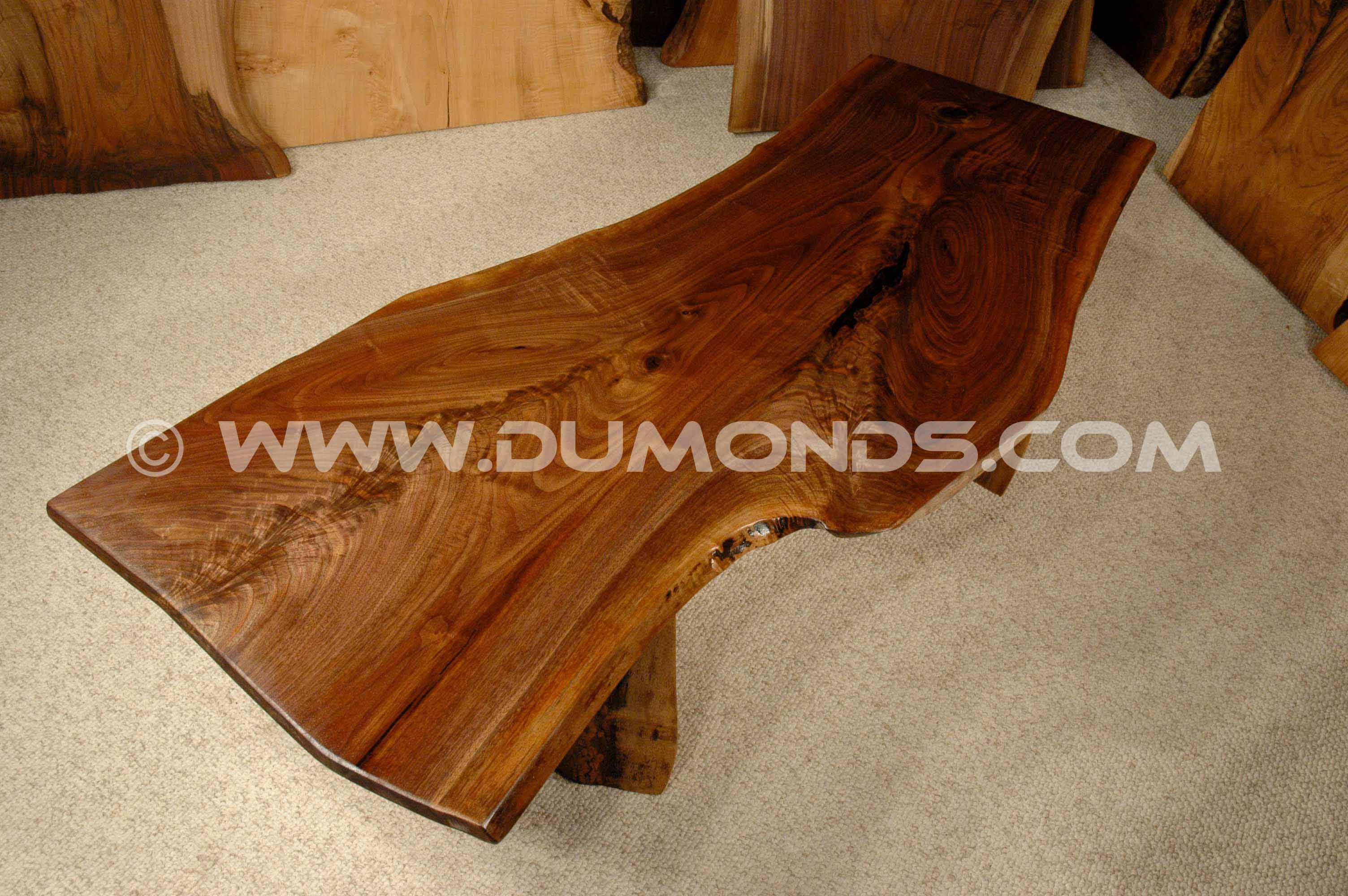 walnut live edge slab bench