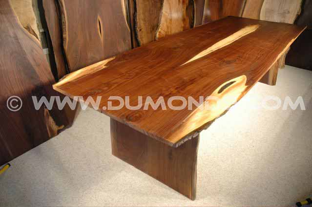 9′ Custom Walnut Crotch Slab Dining Table
