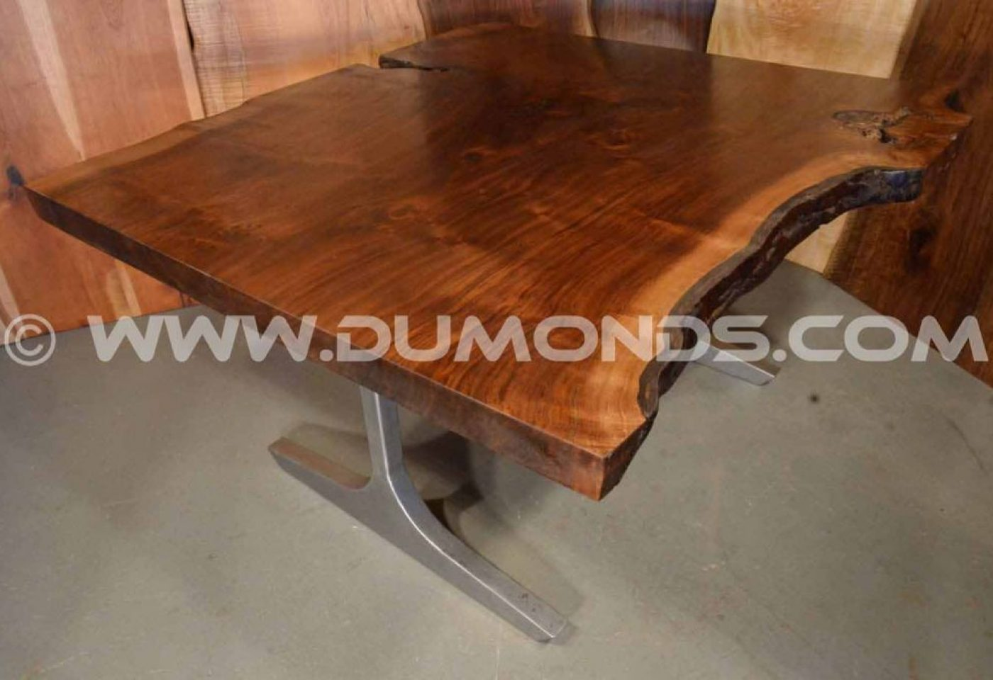 """The Hamptons"" 5′ LIVE EDGE CLARO WALNUT DINING TABLE WITH BRUSHED STEEL LEGS"