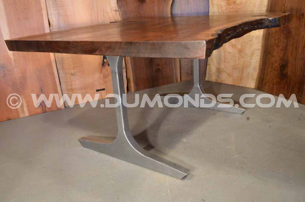 Walnut Desk With Sculpted Steel Legs