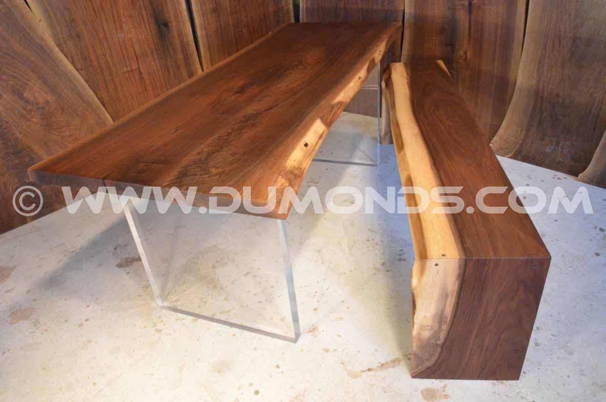 8' live edge walnut table & bench