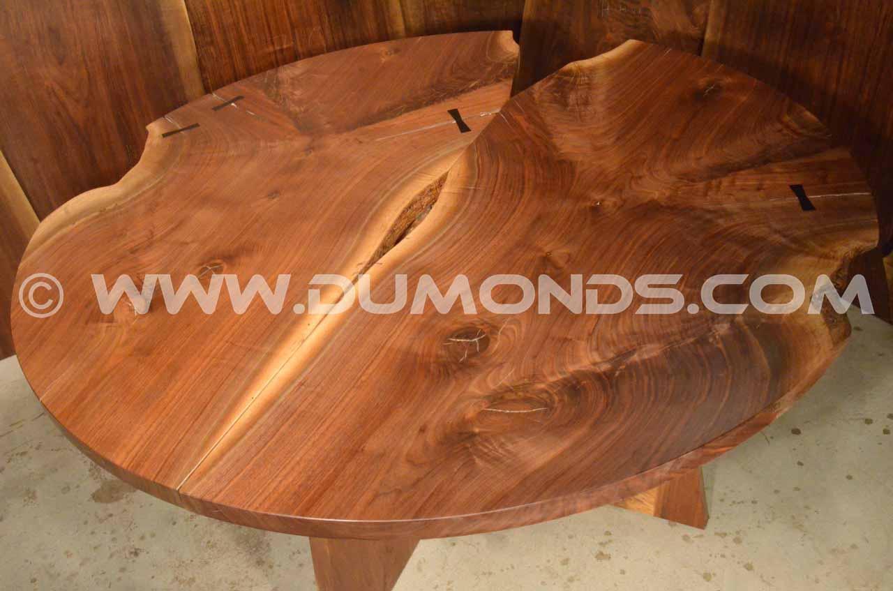 walnut crotch round table