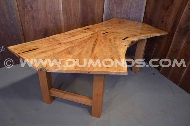 Burl Quilted Maple Slab Custom Dining Table