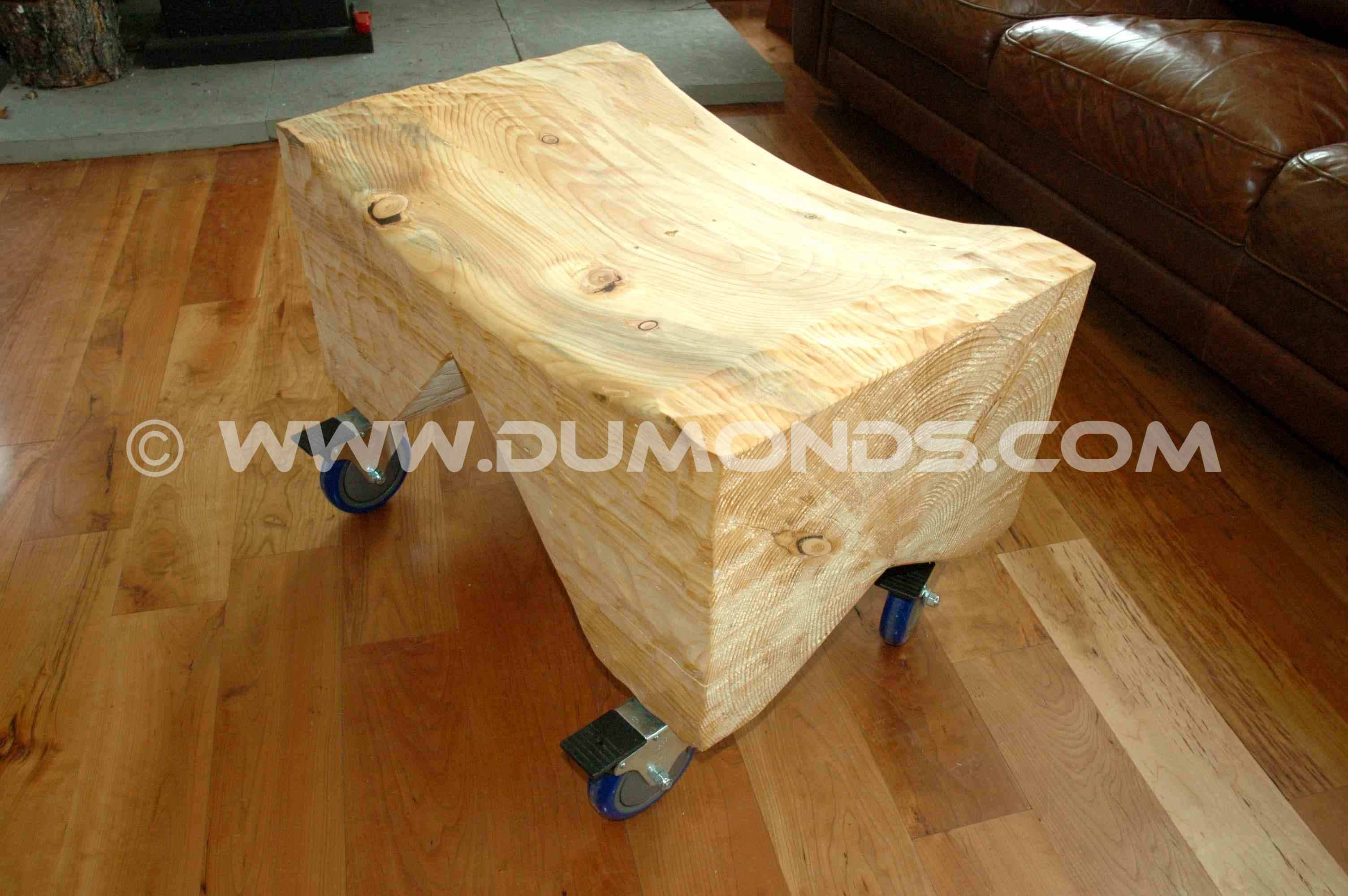Doug Fir block bench on locking casters