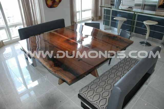 Penthouse Walnut Slab Custom Dining Table