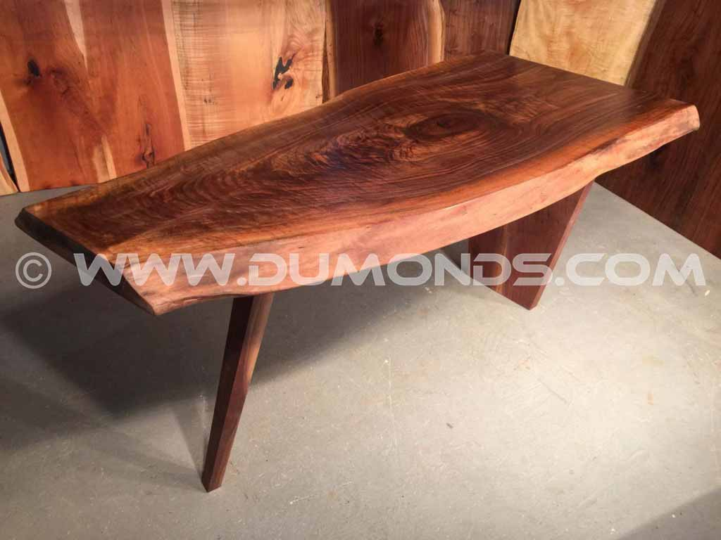 5′ Tapered Curly Walnut Custom Table With Live Edges