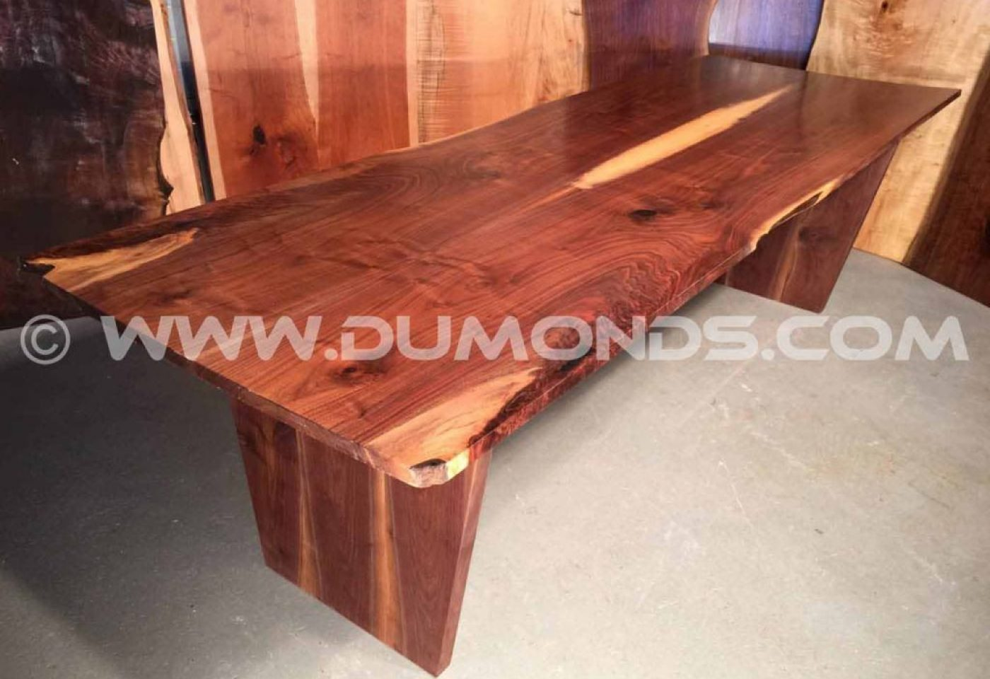 BOOK MATCHED WALNUT LIVE EDGE SLAB TABLE WITH WALNUT TAPERED LEG BASE