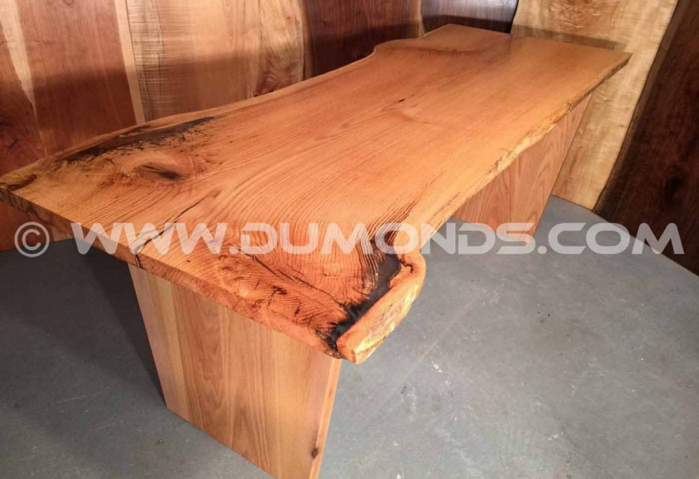 RESCUED OAK FROM MARYLAND- LIVE EDGE SLAB TABLE WITH OAK BASE