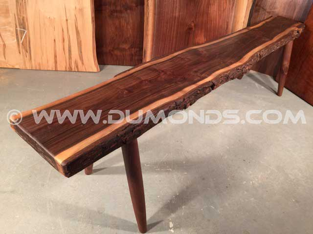 Walnut Slab Rustic Bench