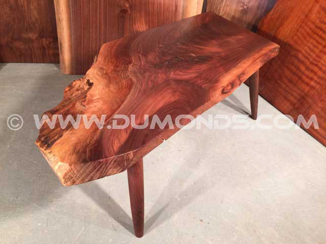 Unusual Custom Walnut Bench