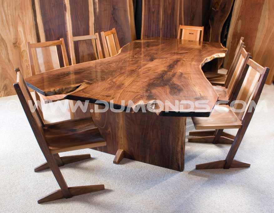 natural edge walnut crotch table