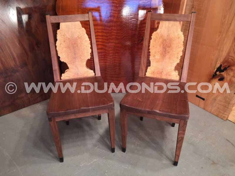Handmade walnut dining room chairs made for a diamond broker in Washington, DC