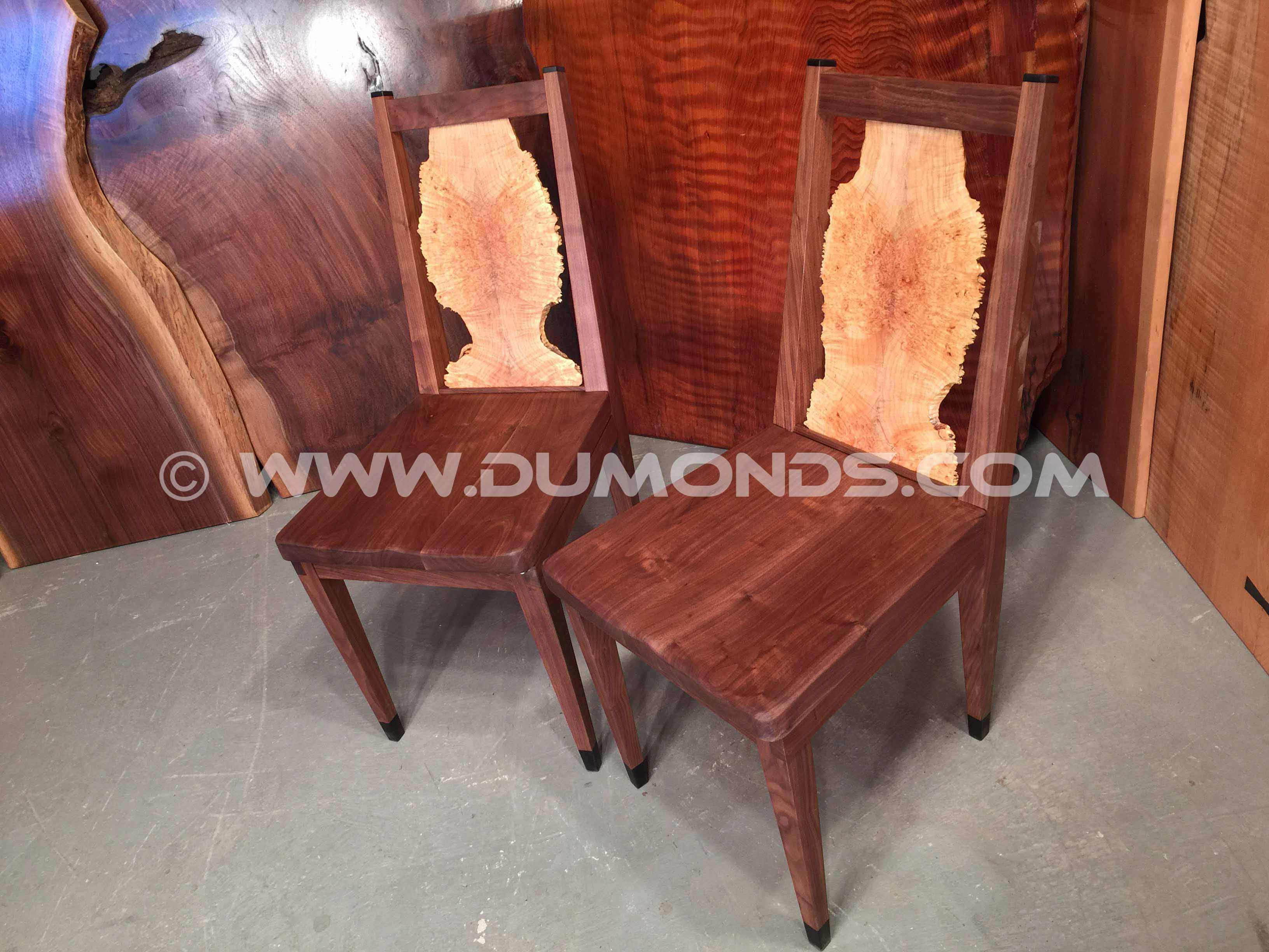 burled maple chairs