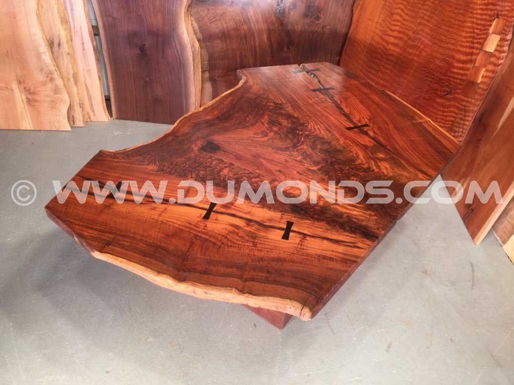 Approximately 4 x 6′ Claro Walnut Crotch Table From An 18.5′ Walnut Log
