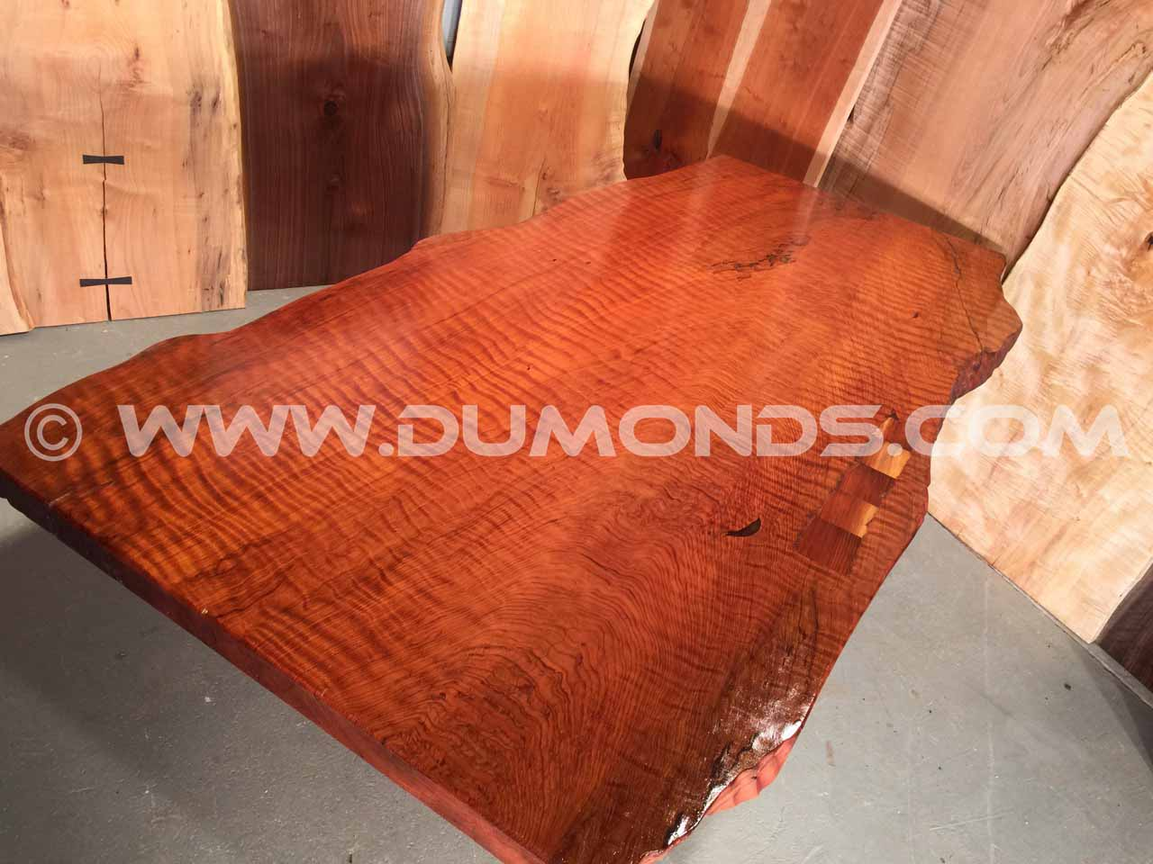 curly redwood table