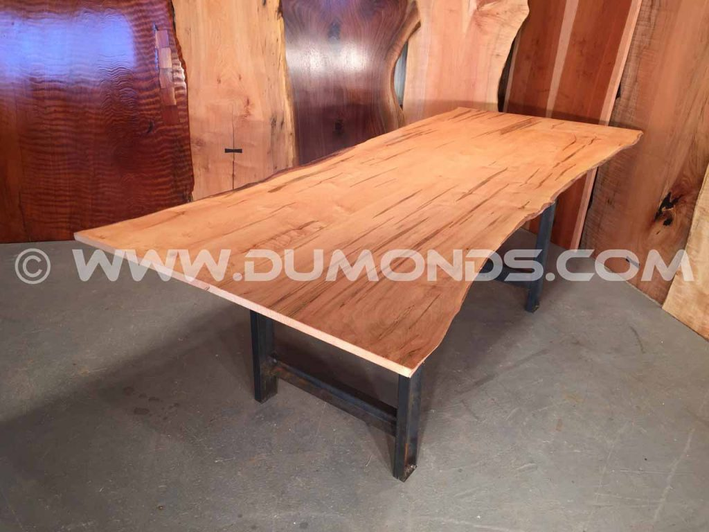 88″ x 34″ Ambrosia Maple Custom Dining Table With Live Edges
