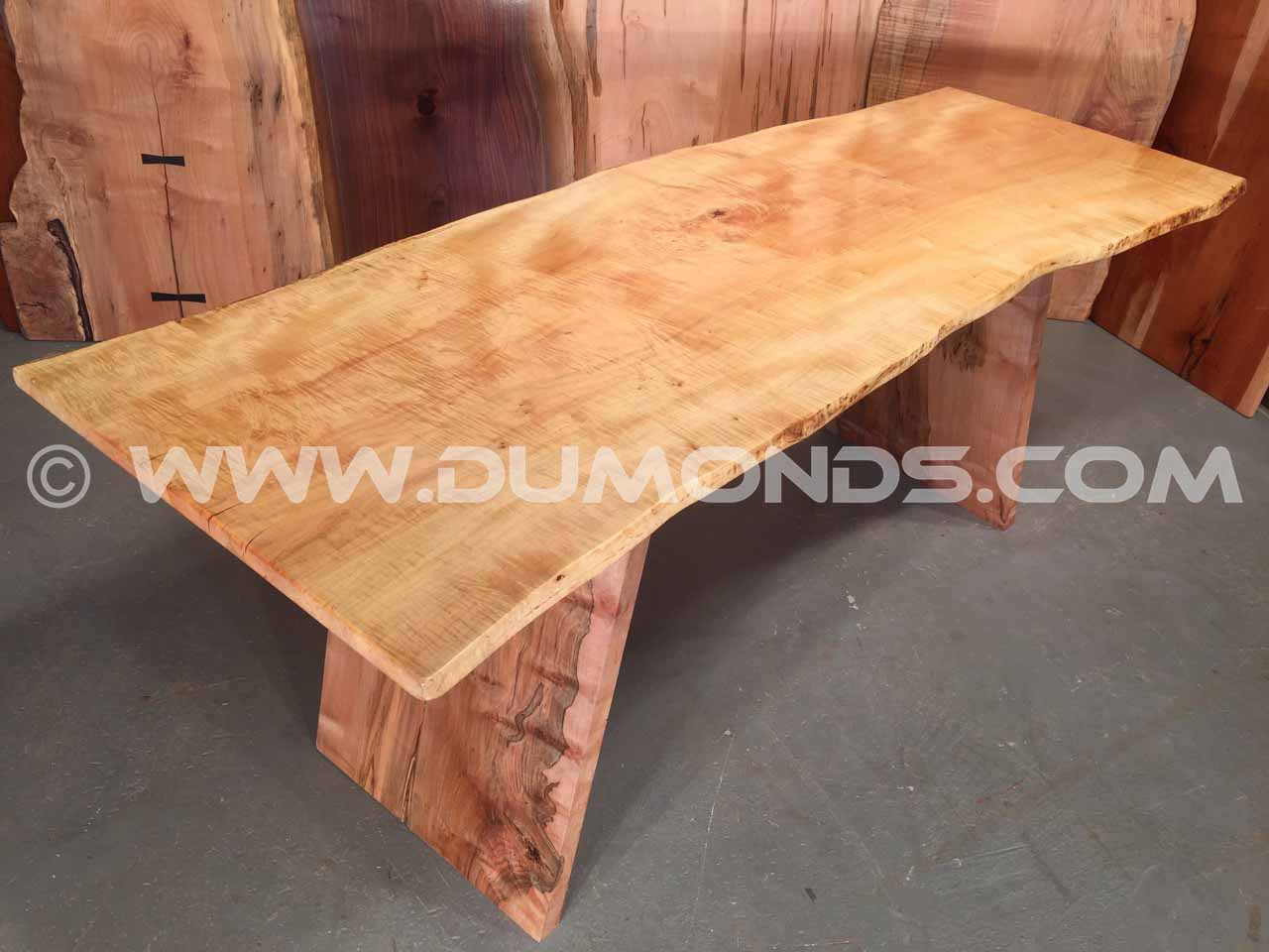 live edge curly maple table