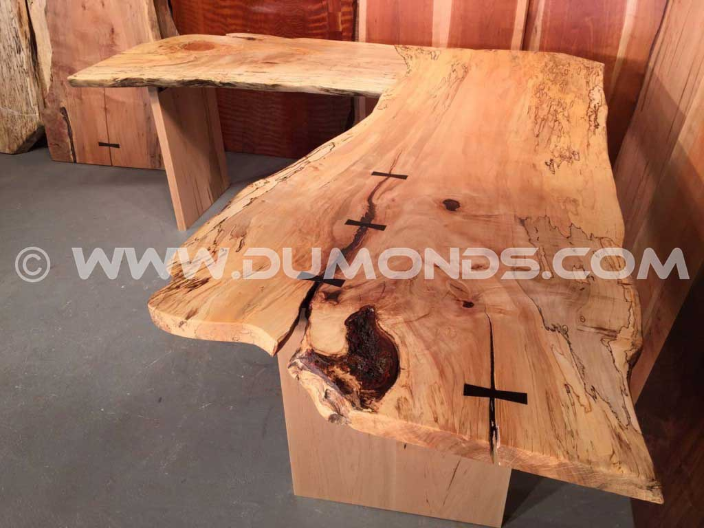 Spalted Maple L-Shaped Desk