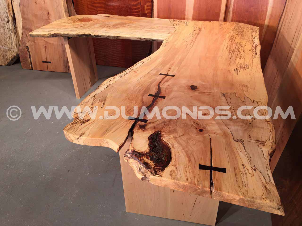 L shaped spalted maple desk