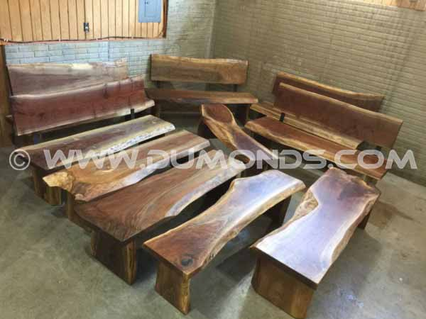 Louisville Kentucky Zoo 5′ Custom Walnut Slab Wooden Benches