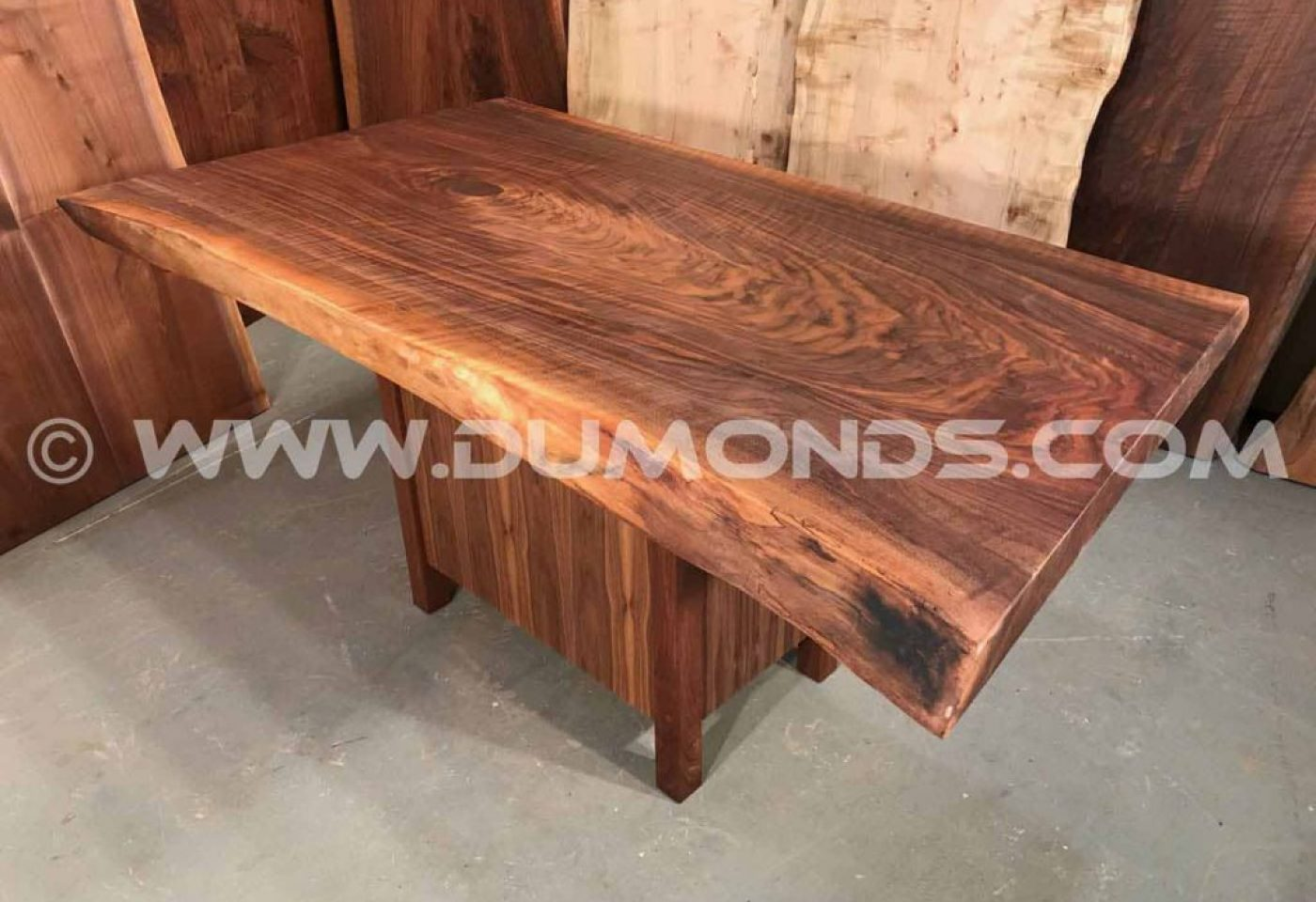 RECYCLED CURLY WALNUT TABLE WITH WALNUT PEDESTAL BASE