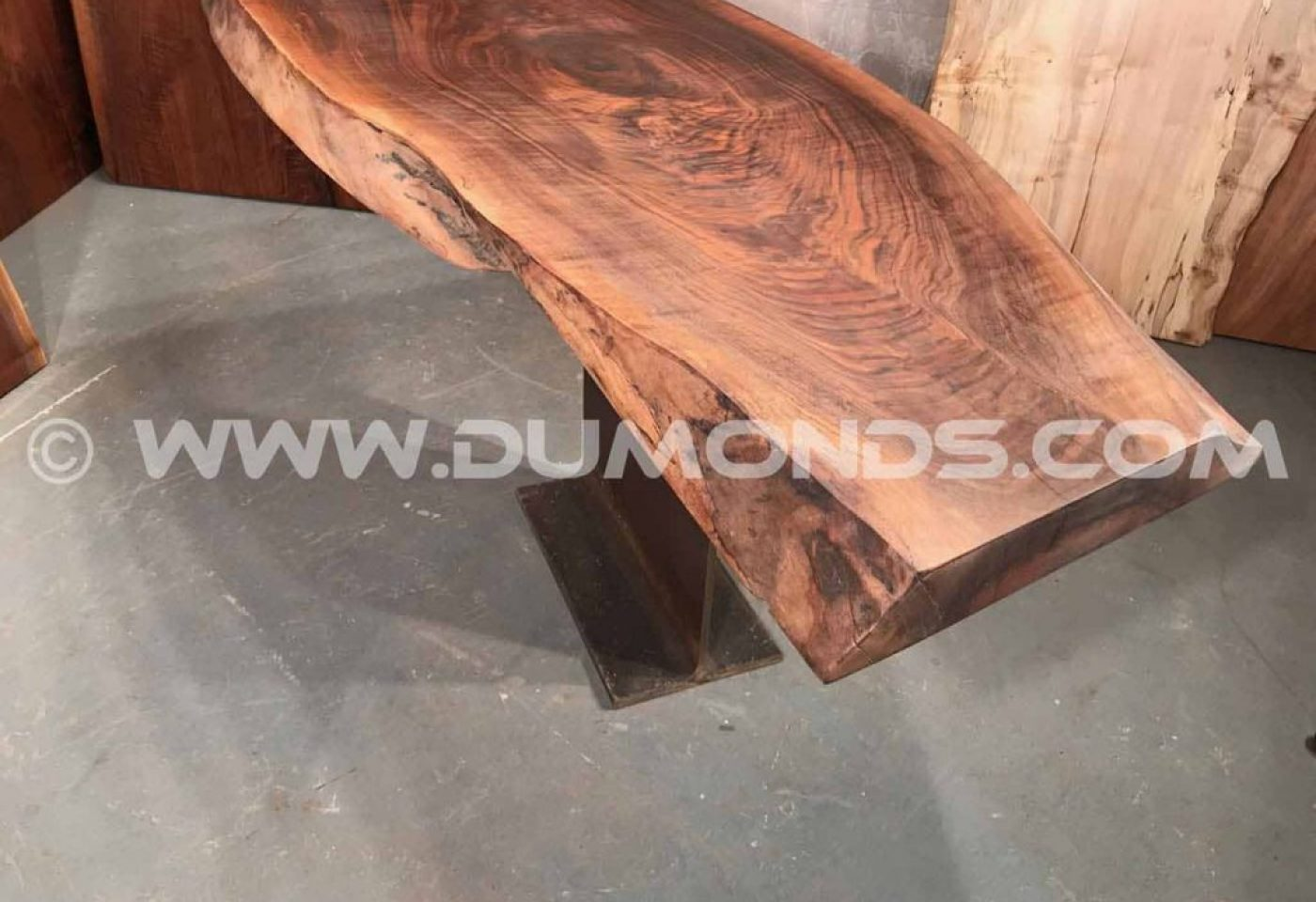 CURLY WALNUT TABLE WITH STEEL I-BEAM BASE