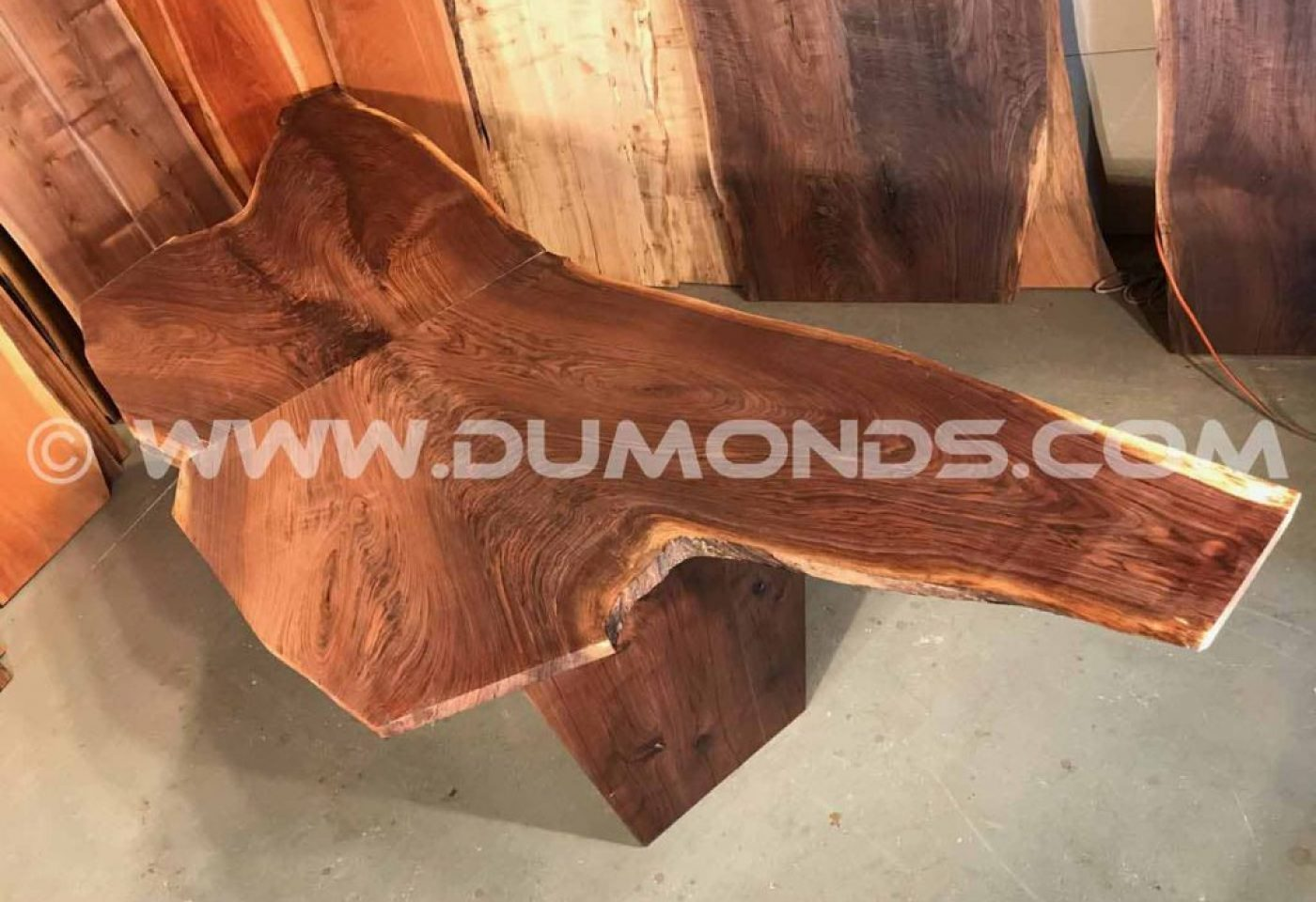 BOOK MATCHED WALNUT CROTCH CURLY WALNUT TABLE WITH WALNUT BASE